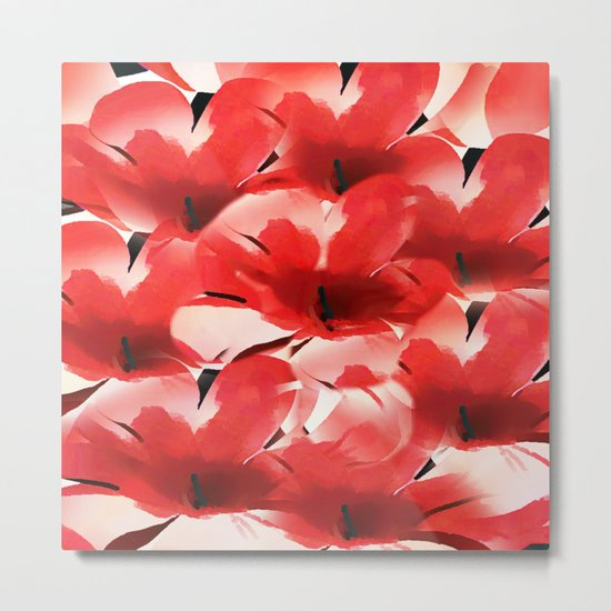 Red Poppies - Painterly Metal Print