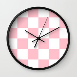 Large Checkered - White and Pink Wall Clock
