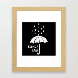 Books and Rain - Black and White (Inverted) Framed Art Print