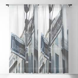 Dumaine and Bourbon - Street Sign in New Orleans French Quarter Sheer Curtain