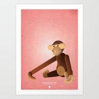 monkey Art Prints featuring Monkey by One Little Bird Studio