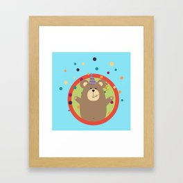 Party Bear with Spots in cirlce Framed Art Print