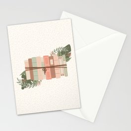 Tied Books with Foliage - Green & Pink Stationery Cards