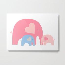 Mommy Elephant Metal Print