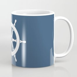 Navy Nautical Ship Wheel Coffee Mug