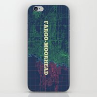 fargo iPhone & iPod Skins featuring Fargo-Moorhead Street Map by CartoPosters Maps