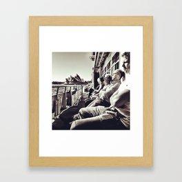 Tired commuters. Framed Art Print