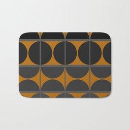 Black and Gray Gradient with Gold Squares and Half Circles Digital Illustration - Artwork Bath Mat