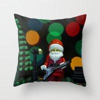 concert Throw Pillows featuring Santa's Concert by Pedro Nogueira