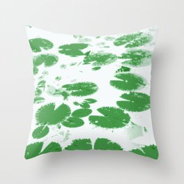 Water lily leaves white Throw Pillow