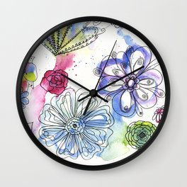 Doodle flowers in watercolor and ink Wall Clock