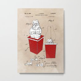 patent art Rubens Disappearing Santa in Chimney 1960 Metal Print