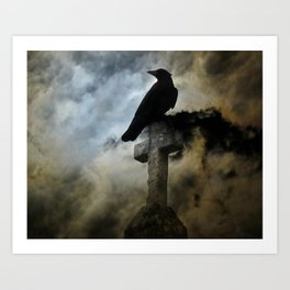 Stormy Clouds And Crow Art Print