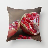 pomegranate Throw Pillows featuring pomegranate by Life Through the Lens
