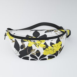 DAMASK PATTERN BLACK WHITE YELLOW TOILE Fanny Pack