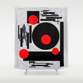 Optical Red Shower Curtain