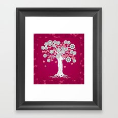 romantic tree on vinous Framed Art Print
