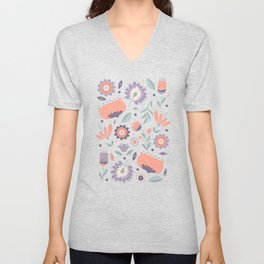 Folk Art Florals in Coral Pink Unisex V-Neck