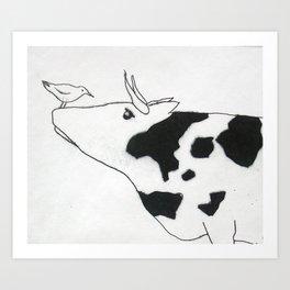 Bird & Cow Art Print