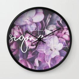 Alpha Sigma Alpha - Purple Flower Design Wall Clock
