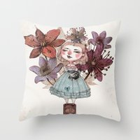 coffe Throw Pillows featuring Coffe time by flaviasorr
