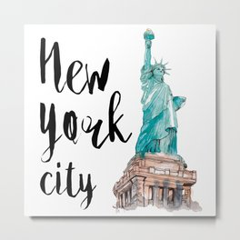 New York City watercolor Metal Print