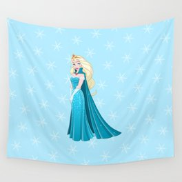 Snow Princess In Blue Dress Side Wall Tapestry