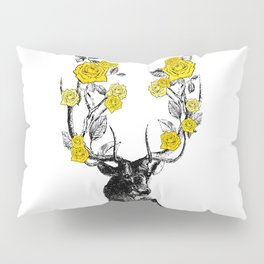 The Stag and Roses | Deer and Flowers | Yellow | Vintage Stag | Vintage Deer | Antlers | Woodland | Pillow Sham