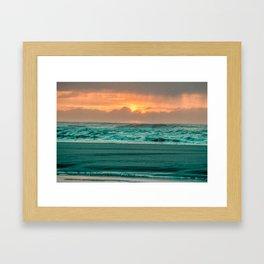 Turquoise Ocean Pink Sunset Framed Art Print