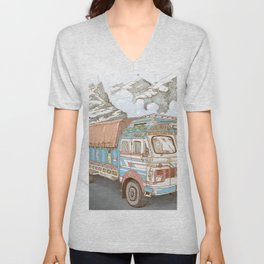 A Truck in the Himalayas Unisex V-Neck