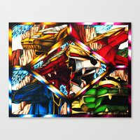 power rangers Canvas Prints featuring Power Rangers Thunderzords by sn33ky