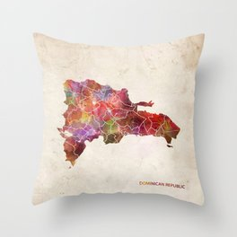 Dominican Republic map Throw Pillow