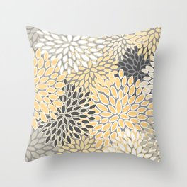 Modern, Flowers Print, Yellow, Gray and White Throw Pillow
