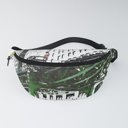 Chicago photography - Chicago EL art print in green black and white Fanny Pack