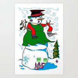 A Snowman (Snow Woman) in a Red Scarf Art Print