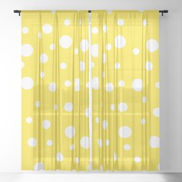 White Dots on Yellow Sheer Curtain