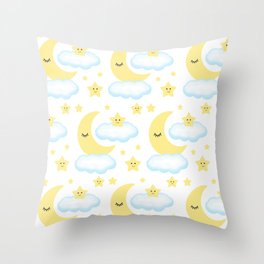 Moon Star Cloud Baby Nursery Throw Pillow