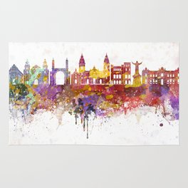 Lima skyline in watercolor background Rug