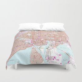 Vintage Map of Tampa Florida (1956) Duvet Cover