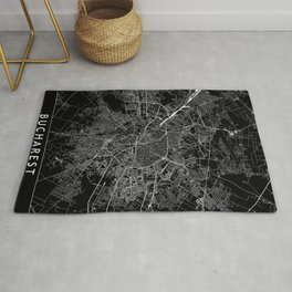 Bucharest Black Map Rug