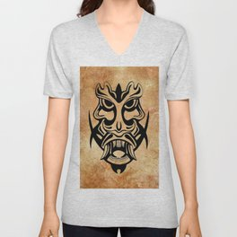 Vicious Tribal Mask Black grunge 002 Unisex V-Neck