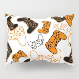 Video Games Orange on White Pillow Sham