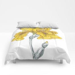 iris 02 Botanical Flower * Yellow Bearded Iris Comforters