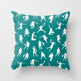 Basketball Players // Teal Throw Pillow