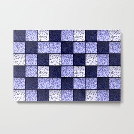 Blue Spotty Tiles Metal Print