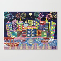 Hong Kong By Night Canvas Print