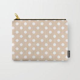 Small Polka Dots - White on Pastel Brown Carry-All Pouch