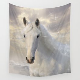 Sparkling White Horse Wall Tapestry