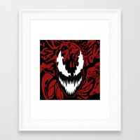 carnage Framed Art Prints featuring carnage by Rebecca McGoran