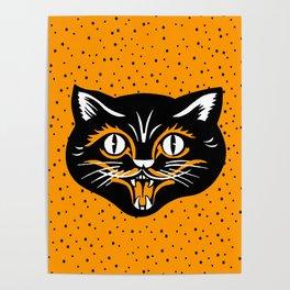 Vintage Type Halloween Black Cat Face Stars Orange Poster